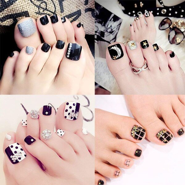 Một số mẫu nail chân màu đen thời thượng và hút mắt