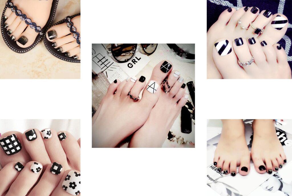 Một số mẫu móng chân sơn gel màu đen xinh xắn gợi ý cho bạn